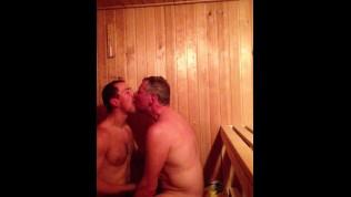 Older Junior Sauna Meatpipe Sucking (Daddy and Stepson)