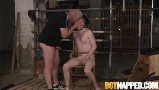 Corded marionette Alex Knight gargles masters prick and masturbates