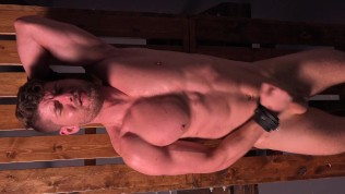 Uncircumcised Muscle Jock Cums After Brutal Whipping & Spreading – DreamBoyBondage